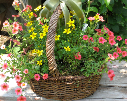 Photo Basket With Mixed Flowers