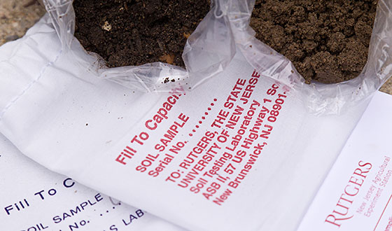 Soil testing kit and samples.